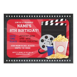 Convite de aniversário do cinema do filme da noite