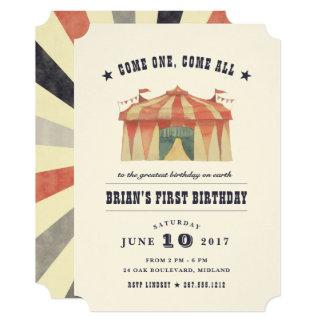 Convite de aniversário do circo do vintage