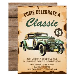 Convite de aniversário do clássico do carro