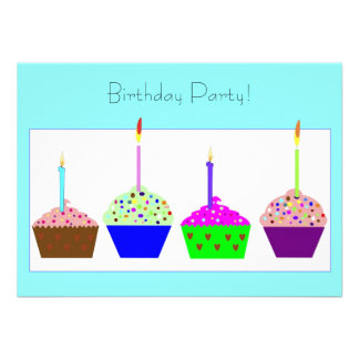Convite de aniversário do cupcake