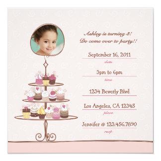 Convite de aniversário do cupcake convite quadrado 13.35 x 13.35cm
