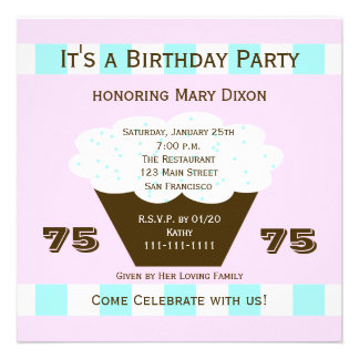 Convite de aniversário do cupcake 75th cupcake 75