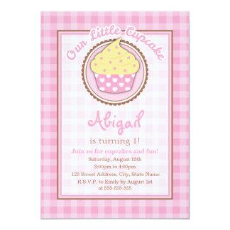 Convite de aniversário do cupcake do guingão convite 12.7 x 17.78cm