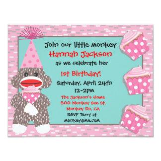 Convite de aniversário do cupcake do macaco da