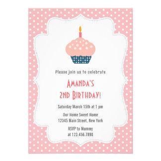 Convite de aniversário do cupcake Pink