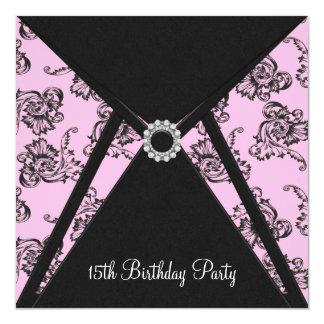Convite de aniversário do damasco cor-de-rosa 15o