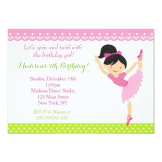 Convite de aniversário do dançarino da bailarina