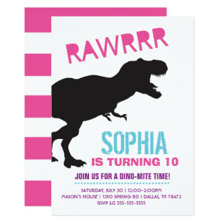 Convite de aniversário do dinossauro da menina