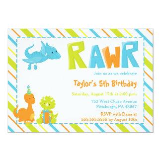 Convite de aniversário do dinossauro de RAWR
