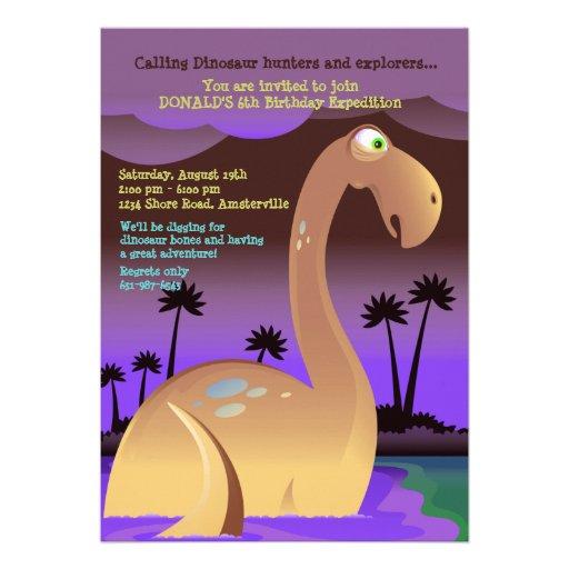 Convite de aniversário do dinossauro do pântano
