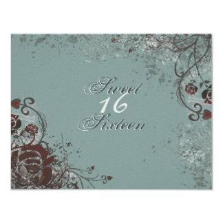 Convite de aniversário do doce 16 da rosa vermelha
