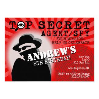 Convite de aniversário do espião do agente secreto