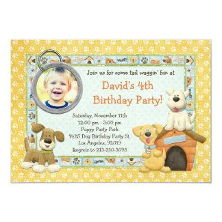 Convite de aniversário do filhote de cachorro do
