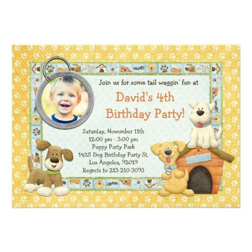 Convite de aniversário do filhote de cachorro do c