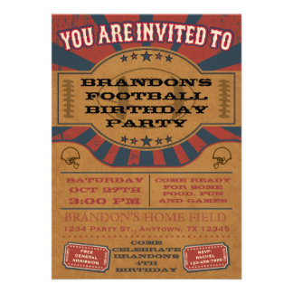Convite de aniversário do futebol do vintage