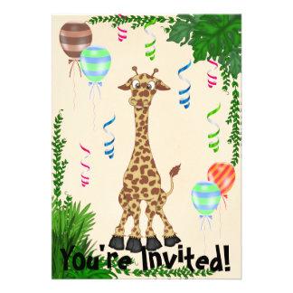 Convite de aniversário do girafa do safari