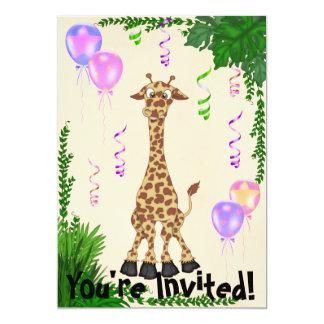 Convite de aniversário do girafa do safari das