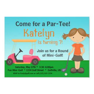 Convite de aniversário do golfe do jogador de