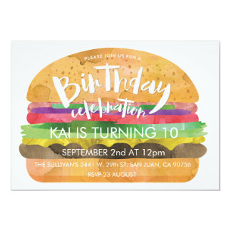 Convite de aniversário do hamburguer