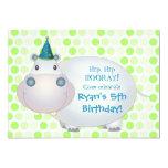 Convite de aniversário do hipopótamo