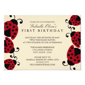 convite de aniversário do joaninha 5x7