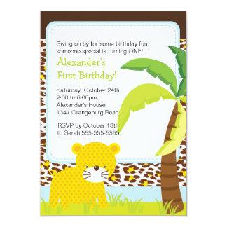 Convite de aniversário do leopardo do safari de