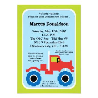 convite de aniversário do monster truck do menino