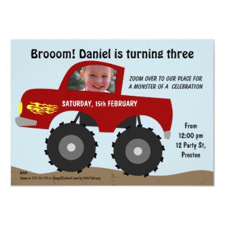 Convite de aniversário do monster truck dos convite 11.30 x 15.87cm
