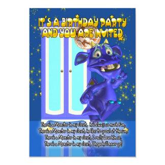 Convite de aniversário do monstro das crianças com
