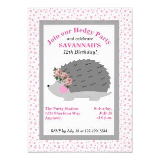Convite de aniversário do ouriço da grinalda da