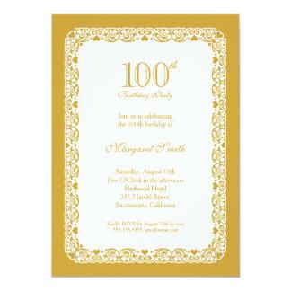 Convite de aniversário do ouro elegante 100th