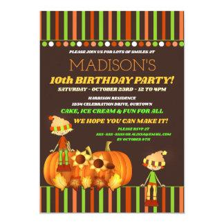 Convite de aniversário do outono das crianças