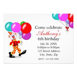 Convite de aniversário do palhaço