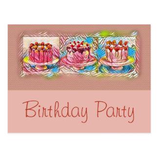 Convite de aniversário do pêssego da arte do bolo
