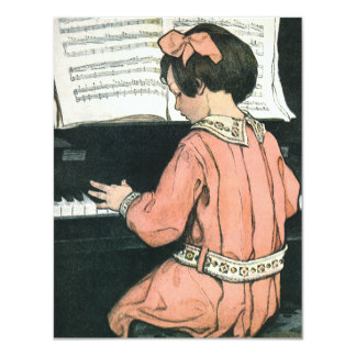 Convite de aniversário do pianista da menina do