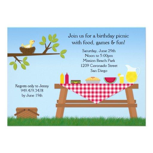 Convite de aniversário do piquenique