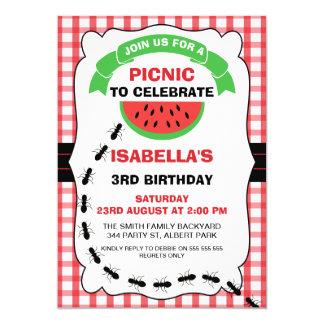 Convite de aniversário do piquenique da melancia