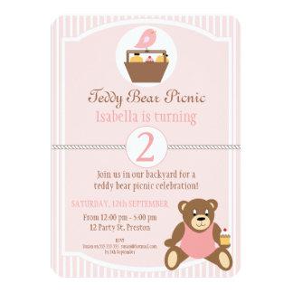 Convite de aniversário do piquenique do urso de