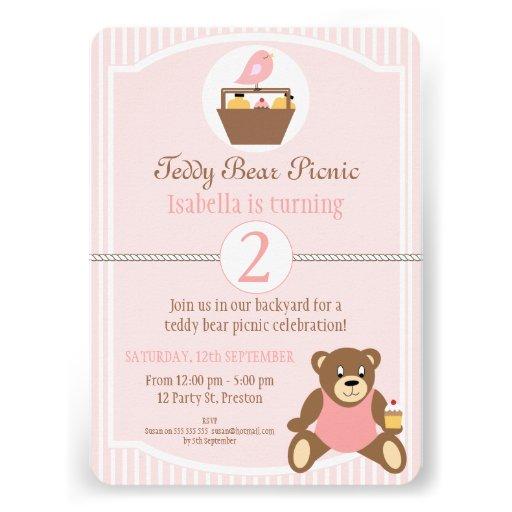 Convite de aniversário do piquenique do urso de ur