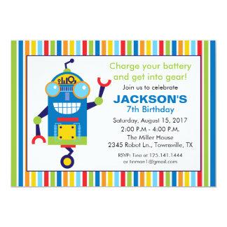 Convite de aniversário do robô