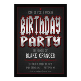 Convite de aniversário do rock and roll