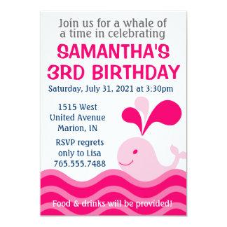 Convite de aniversário do rosa da baleia da menina
