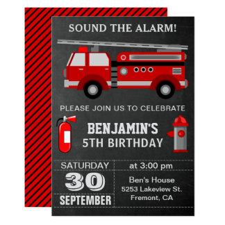 Convite de aniversário do sapador-bombeiro do