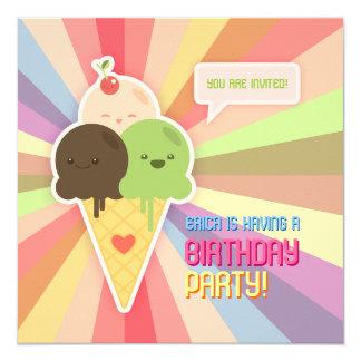 Convite de aniversário do sorvete de Kawaii