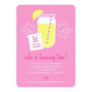 Convite de aniversário do suporte de limonada