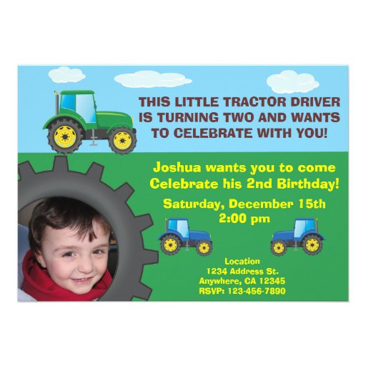 Convite de aniversário do trator