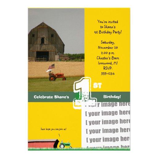 Convite de aniversário do trator:  Celeiro & trato