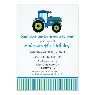 Convite de aniversário do trator no azul