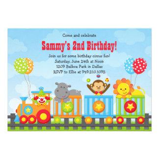 Convite de aniversário do trem do circo dos miúdos
