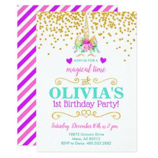 Convite de aniversário do unicórnio